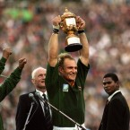 Mandela urged all South Africans to get behind their rugby team at the 1995 World Cup - turning the victory into a moment of national reconciliation (Ross Kinnaird/Empics)