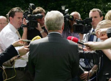Tanaiste Eamon Gilmore speaks to the media after a meeting with Papal Nuncio Archbishop Giuseppe Leanza in Dublin
