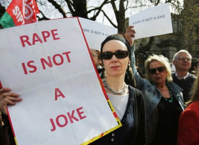 Protests over the 'rape tape' controversy outside the Dáil in April