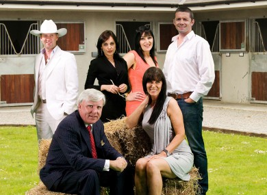 Stars Go Racing. Back row - Mike Denver, Ella McSweeney, Jean Byrne, Alan Quinlan. Front row - Francis Brennan and Linda Martin