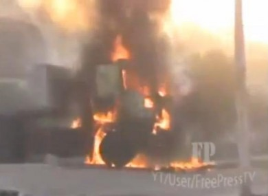 Foreign press have been largely banned from Syria so the military attack on Hama has been recorded in citizen-captured videos like this of a vehicle on fire in Hama