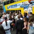 Zombies versus Smurfs as a Dublin bus comes under attack. Pic: Fabio Venturini