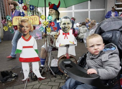 One-year-old Owen McDonagh checking out the Fleadh in Cavan today.