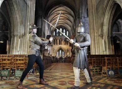 Heritage Week celebrations at St Patrick's Cathedral. Costume soldiers re-enact a battle between two feuding Irish families, the Butlers and the Fitzgeralds.