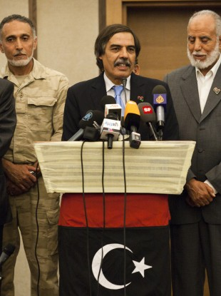 The Libyan NTC holds a press conference in Tripoli last night.