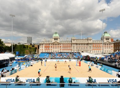 The arena during the FIVB Beach Volleyball International at Horse Guards Parade.