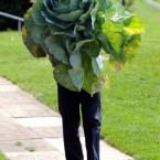Harrogate Autumn Flower show Director Martin Fish with a giant cabbage. (John Giles/PA Wire)