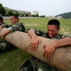 Soldiers of Zhejiang Armed Police Forces in China take part in daily training. (Li Zhong/ChinaFotoPress)