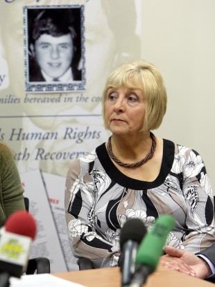 Margaret Duffy, twin sister of Billy McKavanagh, speaking at a press conference in Belfast about