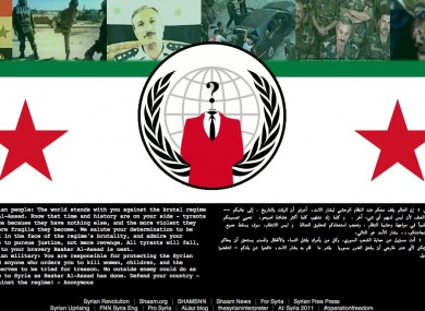 The homepage of the Syrian ministry of defence, pictured after being accessed by the hacktivist collective Anonymous.