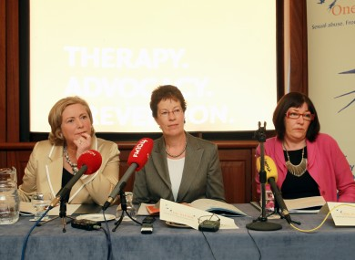 Minister for Children Frances Fitzgerald, Chairperson of One in Four, Dr Jane Pillinger and Chief Executive of One in Four Maeve Lewis pictured at the publication of the group's annual report yesterday.