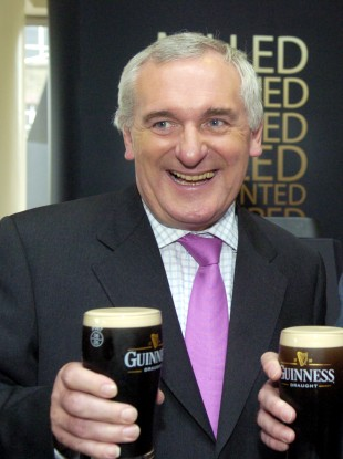 Bertie Ahern enjoys a pint of Guinness with Diageo chairman Lord Blyth. Bertie's preferred tipple, Bass, didn't appear to sell well in the Leinster House bars in 2009.