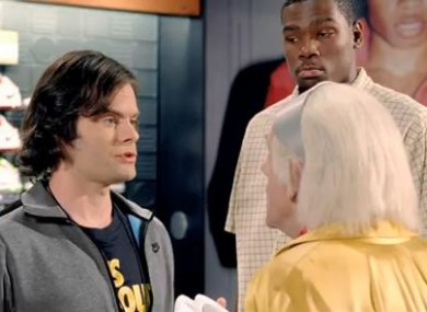 (L-R) Bill Hader, Christopher Lloyd and Kevin Durant.