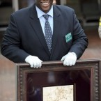 Los Angeles Sheriff lead detective Clarence Williams displays the recovered quill pen drawing known as