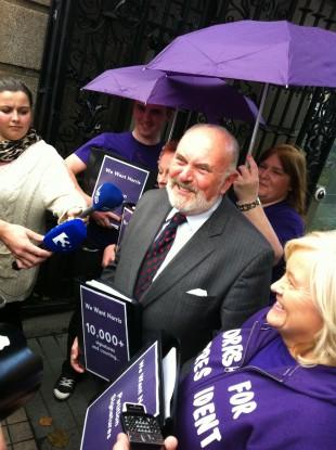 Senator David Norris outside Leinster House today
