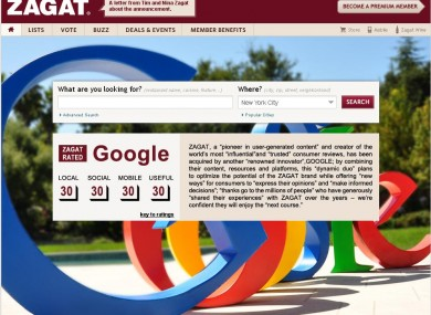 Embracing Google - a screenshot of Zagat's website today.