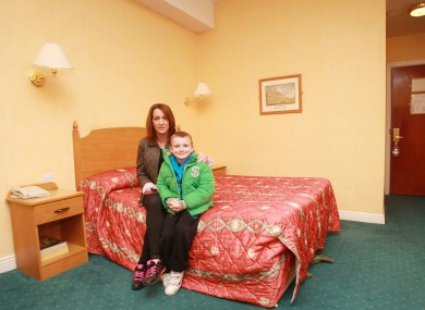Niamh Ryan and her son Clyde, 7, in the Regency Hotel after evacuating their Priory Hall home