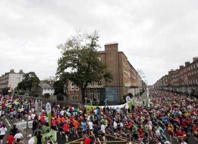 Runners in today's Dublin City Marathon.