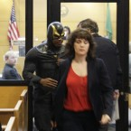 Ben Fodor/Phoenix Jones appears in court yesterday over the alleged assault of several people outside a nightclub earlier this month. (AP Photo/Ted S. Warren/PA Images)