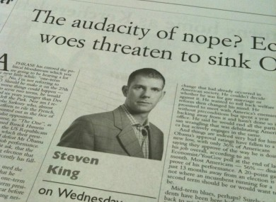 A Steven King column from yesterday's Irish Examiner is among those alleged to include plagiarised content.