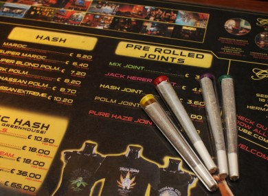 Pre-rolled joints at a coffee shop in Amsterdam