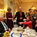 President McAleese and her husband Dr Martin McAleese hold their annual Christmas afternoon tea for retired people at Aras an Uachtarain, Dublin.