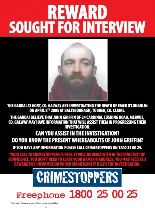 The Crimestoppers poster with John Griffin's image on it