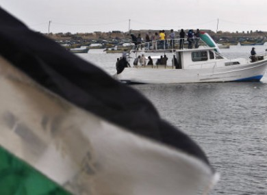 Activists show their support for the two boats which are attempting to break the blockade on Gaza