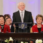 President Michael D Higgins speaking at his inauguration ceremony at Dublin Castle. Image: Photocall Ireland/Gis