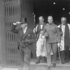 Hyde (in hat) leaving St Patrick's with aide-de-camp Lt Basil Peterson and CoI Archbishop of Dublin Dr Gregg.