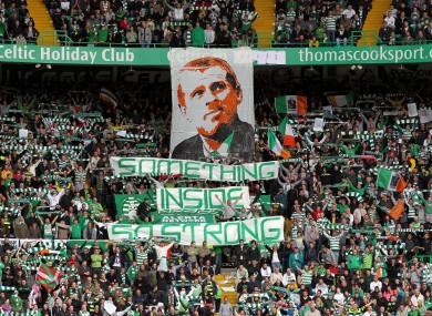 Celtic fans show their colours.