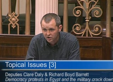 Richard Boyd Barrett raises the issue of Egypt in the Dáil this afternoon