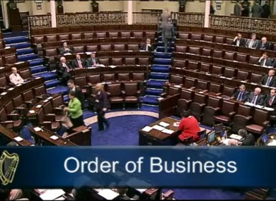 Sinn Féin TDs leaving the Dáil chamber in protest