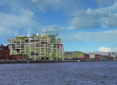 Computer-generated impression of what the 'vertical park' on Dublin's north quays would look