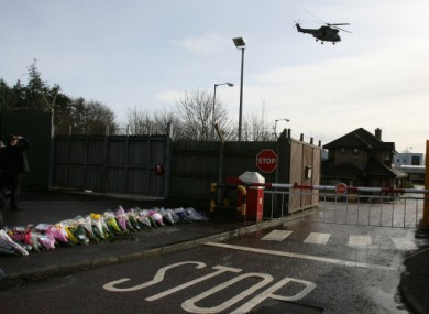 Flowers left outside the Massereene Army Base in Antrim after the shootings in March 2009