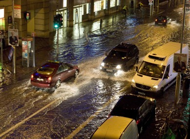 Flooding in Dublin city last month.