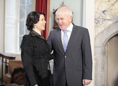 Neve Campbell meets Arts Minister Jimmy Deenihan. Caption suggestions in the comments section below, please.