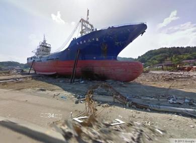 A ship stranded on dry land in Kesennuma by the March tsunami.