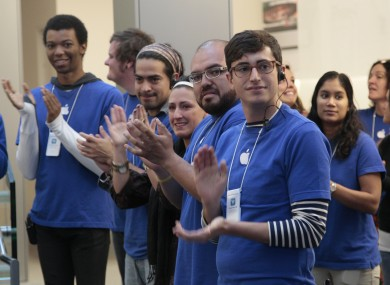 Apple store employees in San Francisco (File photo)