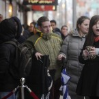A queue of about 250 people queued this morning outside Arnotts department store on Henry Street in Dublin, including a tired Saoirse McElvaney from Blanchardstown (right) who was first in line, and queued from 5pm on Christmas Day. 