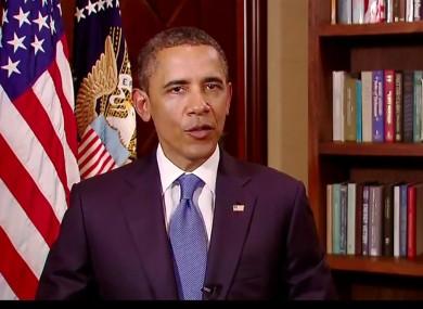 President Barack Obama making his New Year's address