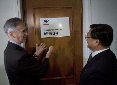 AP president Tom Curley with KCNA president Kim Pyong Ho at the opening of the agency's bureau in Pyongyang.