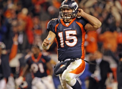 Tim Tebow celebrates the Broncos' dramatic victory.