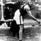 USA's Jim Thorpe on his way to winning a gold medal in both the decathon and pentathlon - he was stripped of them when it was found he had played two seasons of semi-pro basketball. In 1983, his medals were posthumously restored.