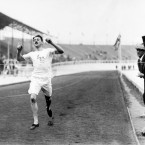 Great Britain's Wyndham Halswelle winning gold in the re-run of the 400m in London. He was the only runner - the other three were all Americans who pulled out when one of them was ruled to have blocked Halswelle in the original final.