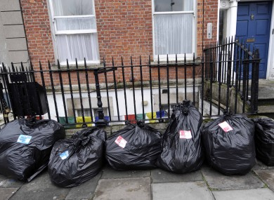 Uncollected rubbish on the street in Dublin's inner city last month
