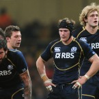 Seen here doubled over from exertion beside Ross Rennie and Richie Gray; Hamilton kept the game compact and dominated his opposite numbers until the home side cut loose.<span class=