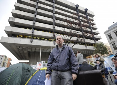 The Occupy Dame Street camp outside the Central Bank. New figures from the bank showed that 9.2 per cent of all mortgages were 90 days in arrears by the end of December.