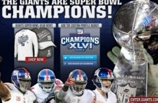 Jumping the gun: A day before the Super Bowl, team's webpage proclaims Giants winners