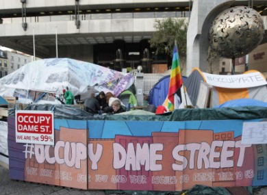 The protest camp outside the Central Bank headquarters on Dame Street.